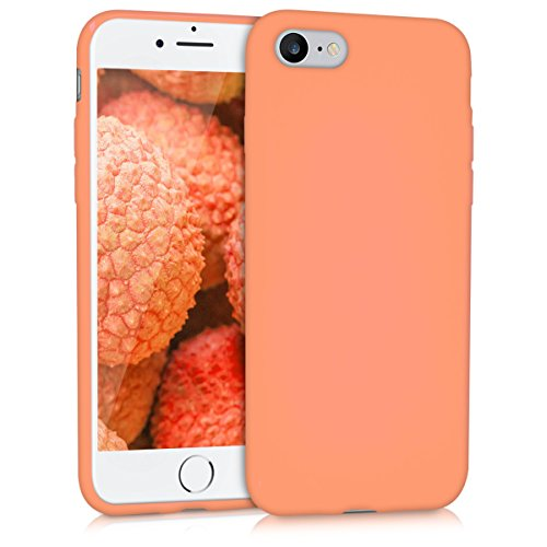 kwmobile TPU Silicone Case for Apple iPhone 7/8 - Soft Flexible Shock Absorbent Protective Phone Cover - Coral Matte