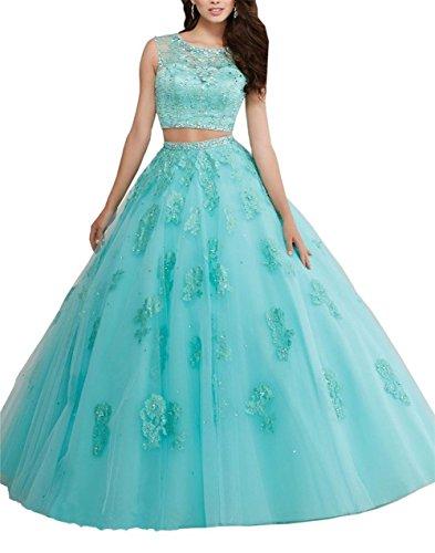 Grün Sheer Ballkleid aufreihmaterialien Kleid Quinceanera Jewel Damen Rückseite Lacy Kristall zweiteiliges Aufnäher engerla U7q1Fx1w