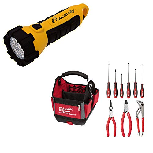 Toucan City LED Flashlight and Milwaukee PACKOUT Tote With Hand Tool Set (10-Piece) 48-22-8310-48-22-2706-48-22-6331