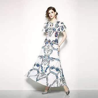 Y&D Summer Women's skirt, printed round collar short sleeve dress