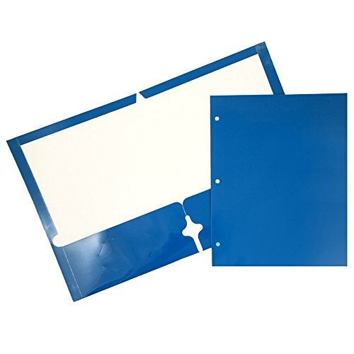 JAM Paper Laminated Two Pocket Glossy 3 Hole Punch Folders - Assorted Primary Colors - 6/pack by JAM Paper (Image #5)