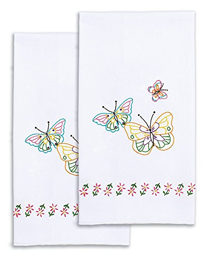 Jack Dempsey Needle Art 320143 Decorative Fluttering Butterflies Hand Towels, 17 by 28-Inch, White