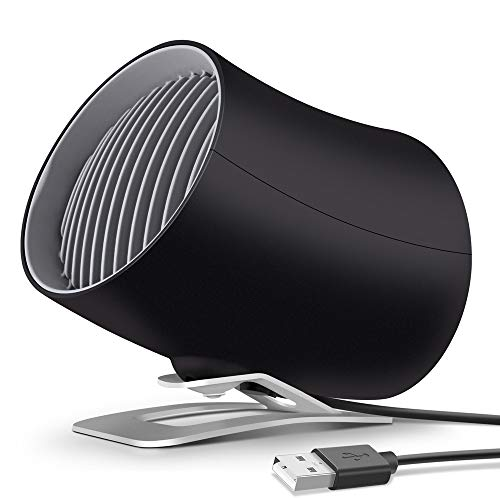 KopBeau Desk USB Fan, Personal Small Table 2019 Newest Version Cooling Fan with Dual Turbo, Two Speeds, Touch Control, Cyclone Air Technology and Bionics Design for Home, Office - Black