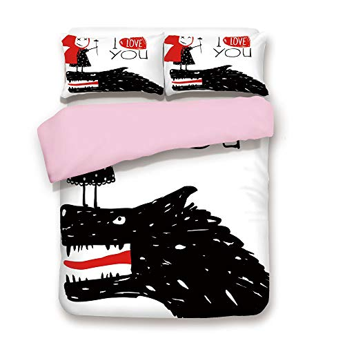 Pink Duvet Cover Set,King Size,Little Red Riding Hood Loves Bad Horrible Wolf Plot Twist Fairytale Art,Decorative 3 Piece Bedding Set with 2 Pillow Sham,Best Gift For Girls Women,Red Black White ()