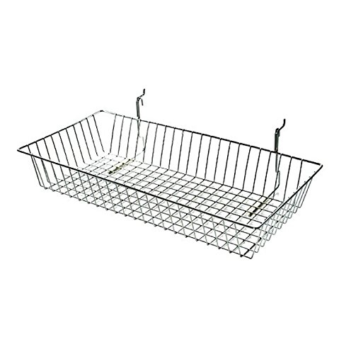 AMKO BSK11/CH Shallow Basket in Chrome Finish – 16 Pounds Wicker Bin with Weight Bearing Metal Wire. Home and Kitchen Accessories (Pack of ()