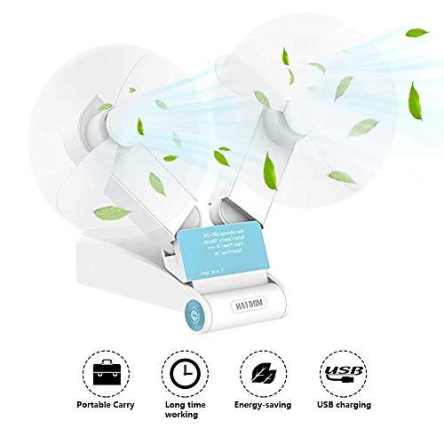 JYSW Mini Handheld Fan, Pocket Fan, Personal Portable USB Rechargeable Battery Fan, Small Dual Head Enhanced Airflow and Lower Noise Foldable Desk Fan for Home Office Traveling Or Hiking(Blue)