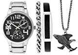 Zoo York Silver Eagle Watch Gift Pack- Matching Silver Chain and Leather Bracelets - Silver Eagle Necklace
