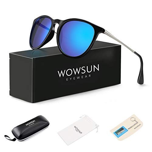 WOWSUN Polarized Sunglasses for Women Vintage Retro Round Mirrored Lens (Black Frame Blue Mirrored lens, 55)