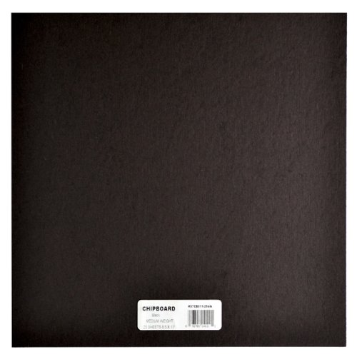Grafix Medium Weight 12 Inch by 12 Inch Chipboard Sheets, Black 25/Package