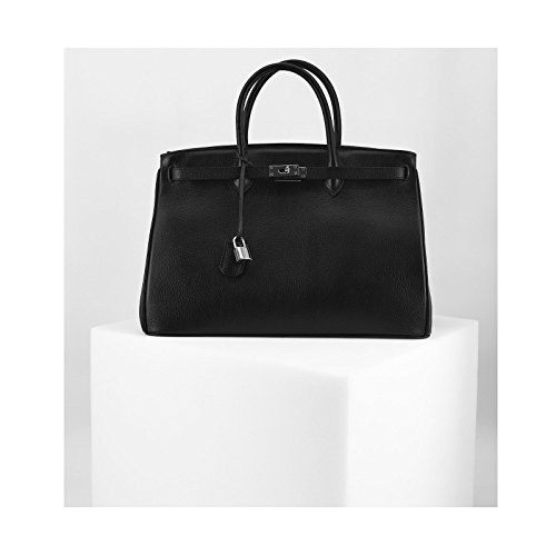 ROUVEN Noir & Silver ICONE CITY 40 Sac Tote fourre-tout sac en cuir dames Sac cartable noble chic et moderne minimaliste (40x28x19cm)