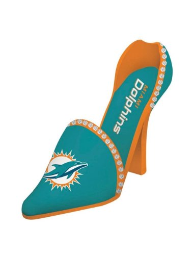 Miami Dolphins Decorative Wine Bottle Holder - Shoe by Hall of Fame Memorabilia