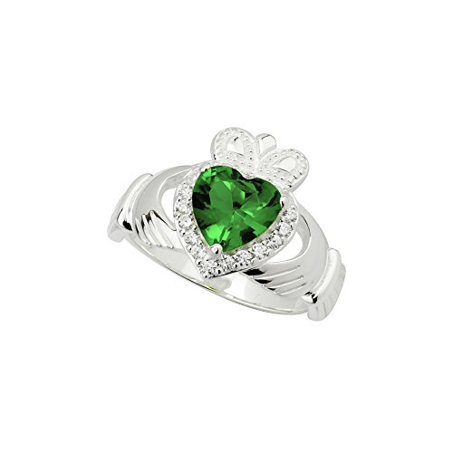 Crystal Claddagh Ring White & Green Sterling Silver, Sz 8