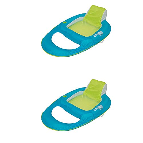 SwimWays Spring Float Inflatable Recliner Pool Lounger, Aqua/Lime (2 Pack)