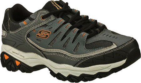 Skechers Sport Mens Afterburn Memory-foam Allacciatura Sneaker Carboncino / Grigio
