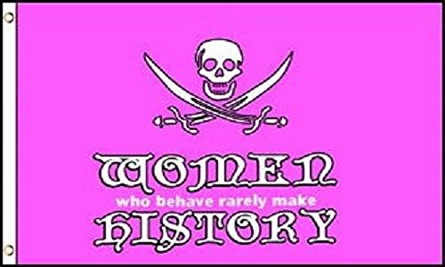 Pink Pirate Flag (3'x5' Jolly Roger Women History Flag Pirate Girl Power Skull Crossbones Pink 3X5 House Banner Double Stitched Fade Resistant Premium Quality)