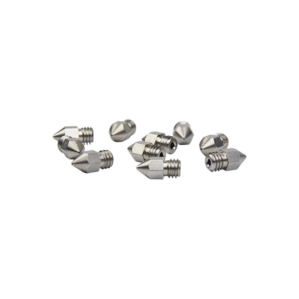 Pack of 10pcs SOOWAY 3D Printer Stainless Steel Extruder Nozzle 0.4mm Print Head M6 Thread for MK8 Makerbot 1.75mm Filament 3D Printer