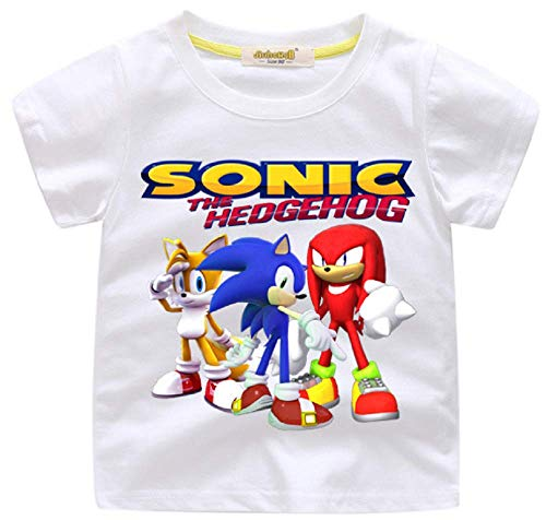 Indepence Life Boys' Sonic The Hedgehog T-Shirt - Featuring Sonic, Tails, and Knuckles Tee for 2-13Years Kids(White, 8T)]()