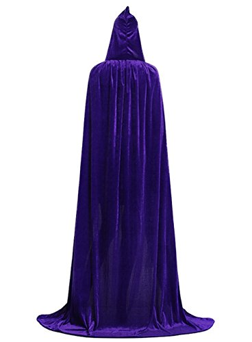 Hooded Cloak Full Long Velvet Cape for Halloween Cosplay Costume Cloak Purple 06PL