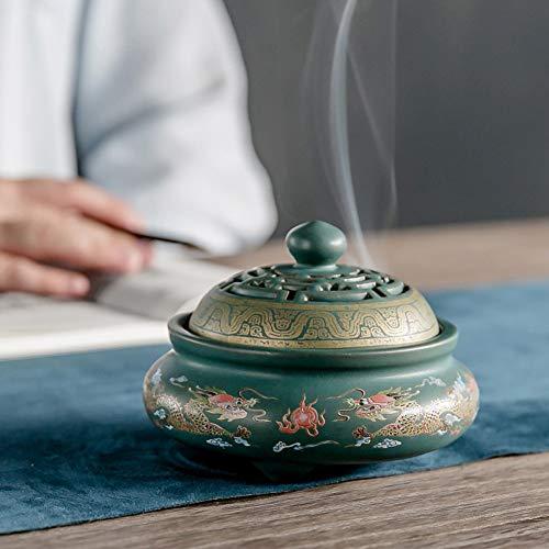 Guwheat Porcelain Incense Holder Burner (Stick/Cone/ Coil Incense) Ceramic Ash Catcher Tray Bowl with Brass Calabash Incense Stick Holder (Green)