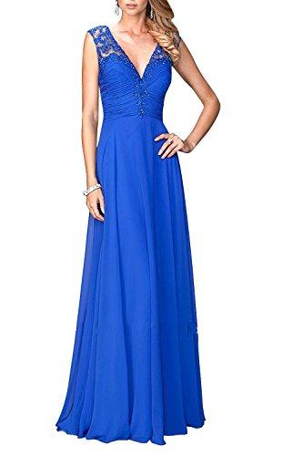 mit Pailletten Brautmutterkleider Spitze Royal Blau V Abendkleider Charmant Hell Festlichkleider Lang Ausschnitt Elegant Damen x06znwqRH