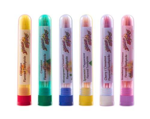 6 Flavor Toothpicks Sampler Pack Small Tubes