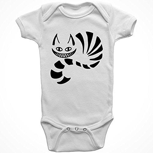 STICKERSLUG White Cheshire Cat Baby Onesie cotton graphic bodysuit, size 6 months -