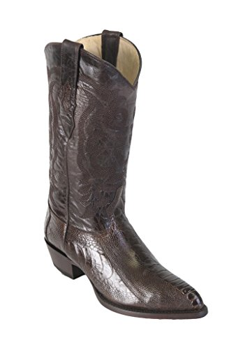 Men's J-Toe Brown Genuine Leather Ostrich Leg Western Boots
