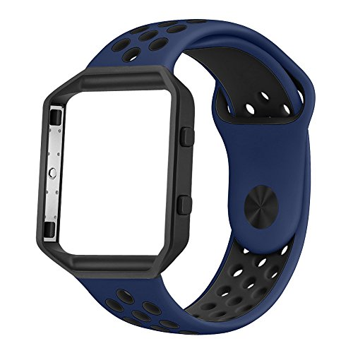 UMTELE Soft Silicone Replacement Strap with Black Frame for Fitbit Blaze Smart Fitness Watch, Large, - Blaze Mens