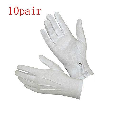 Livoty White Formal Gloves Tuxedo Honor Guard Parade Men Santa Men Inspection Cotton Gloves (10Pair)