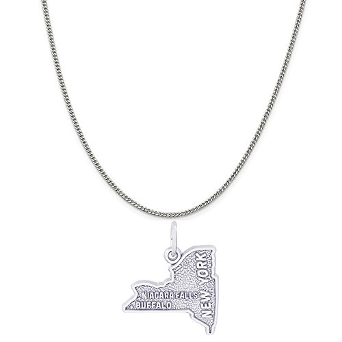 Rembrandt Charms Sterling Silver Buffalo Niagara Falls NY Map Charm on a Curb Chain Necklace, 18