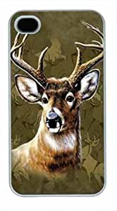 High Quality Fashion White Plastic Case for iPhone 4 Generation Back Cover Case for iPhone 4S with Reindeer