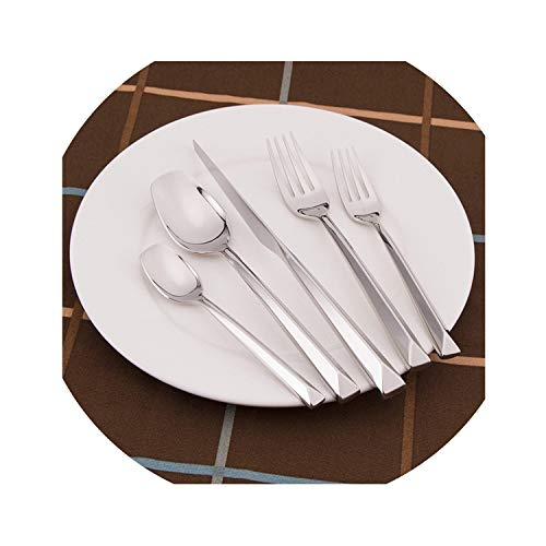 Tableware Set 304 Stainless Steel Steak Knife Plating Main Fork Soup Scoop Dinnerware Set Meat Fork Flatware Full Set 5pc/set,Silver ()