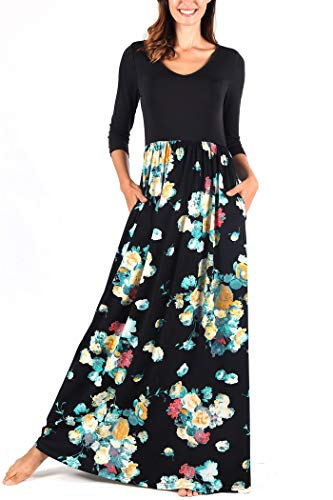 Comila Flowy Dress for Maternity, Retro Floral Print Dresses for Women Bohemian V Neck Long Summer 3/4 Sleeves Casual Pockets Business Work Dress Black/Blue M (US 8-10)