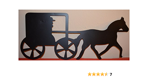 Amazon Com Amish Horse And Buggy Approximate Size Is 10 X 24 Inches Metal Powder Coated Flat Black Silhouette Home Wall Decor For Your Country Western House Or Cabin Keyhole Hanger Mounted