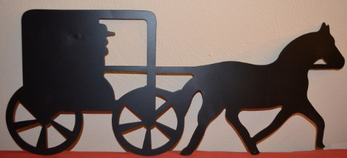 Amish Horse and Buggy Approximate Size Is 10 X 24 Inches Metal Powder Coated Flat Black Silhouette Home Wall Decor for Your Country Western House or Cabin Keyhole Hanger Mounted to Back for Easy Hanging