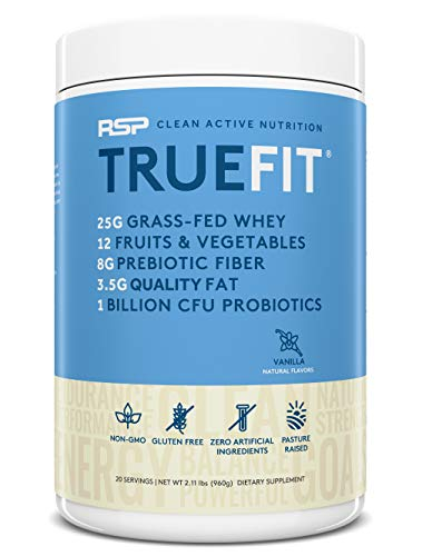 RSP TrueFit - Grass Fed Lean Meal Replacement Protein Shake, Natural Whey Protein Powder with Fiber & Probiotics, Non-GMO, Gluten-Free & No Artificial Sweeteners, 2.11 LB Vanilla (Packaging May Vary)