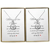 Set of 2 Infinity Necklaces, Mother of the Bride and Mother of the Groom Gift, Mother of the Bride Gift from Groom, Mother of the Groom Gift from Bride, Sterling Silver Infinity Necklace