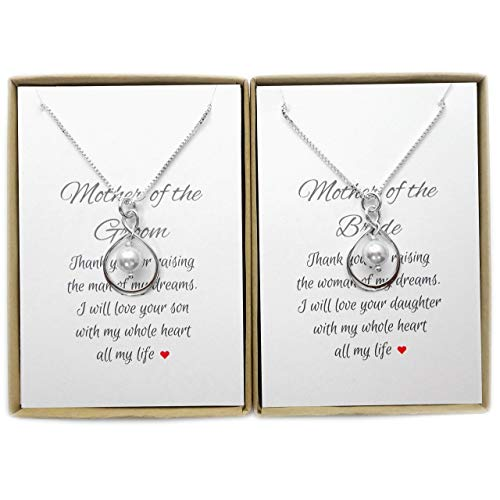Set of 2 Infinity Necklaces, Mother of the Bride and Mother of the Groom Gift, Mother of the Bride Gift from Groom, Mother of the Groom Gift from Bride, Sterling Silver Infinity Necklace]()