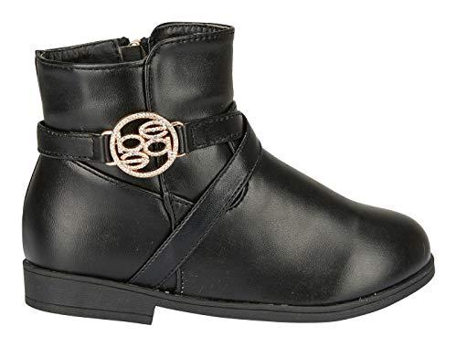 bebe Toddler Girls Riding Boots Size 7 Rhinestone Slip-On Low-Heel Fashion PU Shoes Black