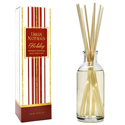 - Urban Naturals Holiday Peppermint Snowflake Reed Diffuser Gift Set | Peppermint & Sweet Vanilla Scent Made with Essential Oils | Great Idea for The Home