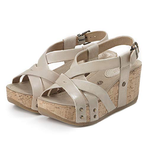 - Bussola Women Sandals Formentera Cross Straps Wedge, Fabia Buckle Shoes, Soft and Stable for Walking (Doeskin)