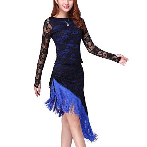 Fenta Women Belly Dance Latin Cha Cha Tassel Lace Cover Long Sleeve Dancing Dress