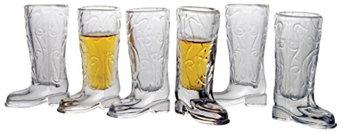 Circleware 51474 Kickback Whiskey Shot Glasses Funny Cowboy Boots, Set of 6 Heavy Base Entertainment Beverage Drinking Glassware for Liquor and Bar Barrel Dining Decor, 1.5 oz, -