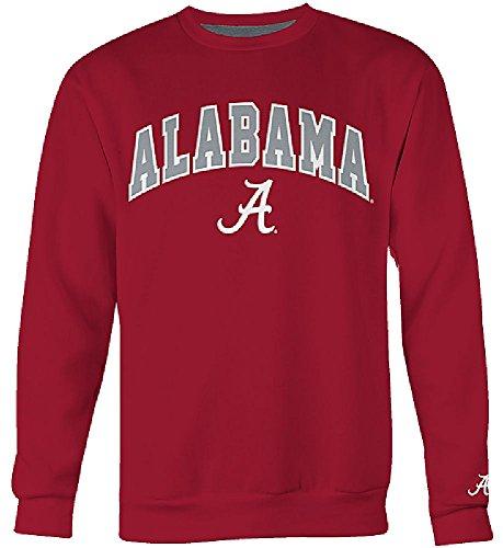 College Embroidered Crew Fleece Sweatshirt - E5 Alabama Crimson Tide Mens Crimson Embroidered College Classic Crewneck Sweatshirt (XXL=52)