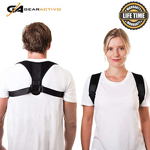 GearActivo Posture Corrector Back Brace for Women and Men- Support Relief for Shoulder, Neck, Spine Pain. No Gym Workout, Equipment or Exercise Required. Fits Easily Under Mens, Womens Clothes.