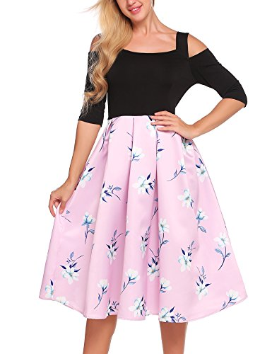 Swing Line I Women's Vintage Dress ACEVOG Sleeve pink A Patchwork Short Party Tea 0YnqPRw