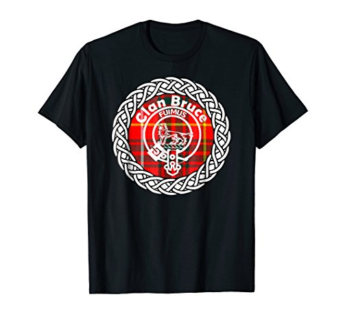 Bruce surname Scottish clan tartan crest badge t-shirt ()