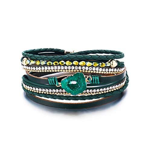 (Vintage Stone Crystal Charm Bracelets & Bangle for Woman Men Fashion Female Handmade Multilayer Leather Wristband Bracelet)