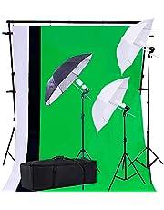 PRO SYSTEM AUDIOTEK Kit Estudio Iluminación Fotográfico Luz Fondos Sombrillas Fotografía Producción Set Estudio de Fotografía Profesional Estudio Fotografico Pantallas y Estructura Resistentes