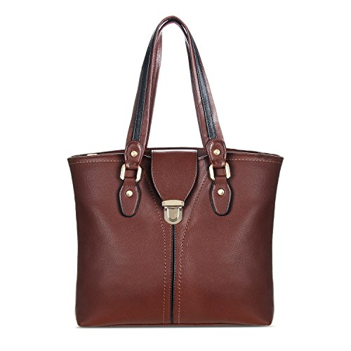 YOLANDO Handbags For Women Large Tote Bag Decorative Buckle Vegan Leather Coffee